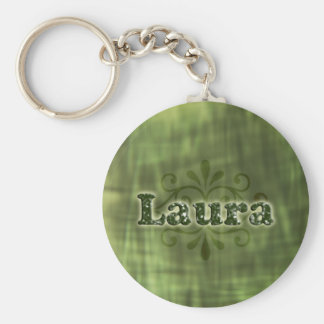Green Laura Basic Round Button Key Ring
