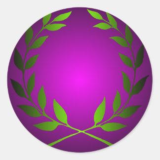 Green Laurel Wreath Round Sticker