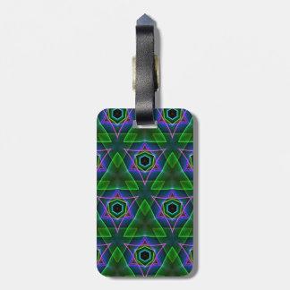 Green Lavender 3d effect Neon Triangular Pattern Bag Tag