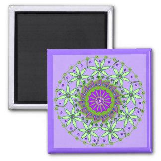 Green/Lavender Flowers Mandala Maagnet Magnet