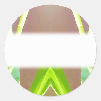 Green Leaf Abstract Round Sticker