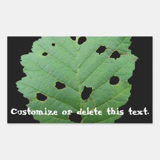 Green Leaf Black Background; Customisable Rectangular Sticker