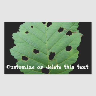 Green Leaf Black Background; Customizable Rectangular Sticker