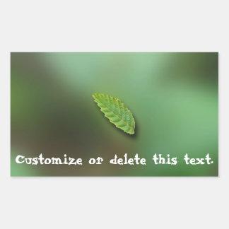 Green Leaf Blurred Background; Customisable Rectangular Sticker