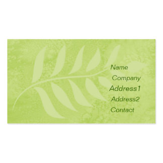 green leaf business card. pack of standard business cards