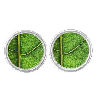 Green leaf Cufflinks Silver Plated
