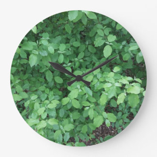 Green leaf design large clock