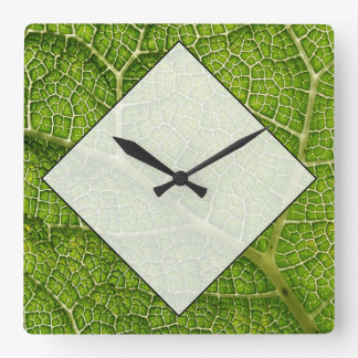 Green Leaf. Digital Art. Square Wall Clock