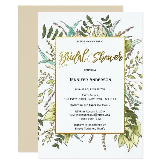 Green Leaf Floral Bridal Shower Card