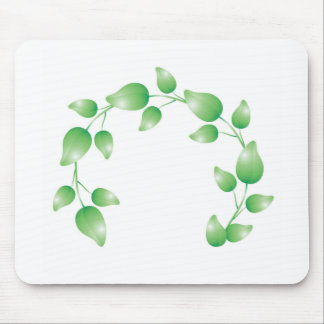 Green leaf garland ring mouse pad