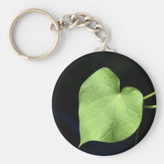 Green Leaf Heart Photo Basic Button Keaychain Key