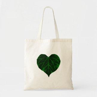 Green Leaf Heart Tote Bag