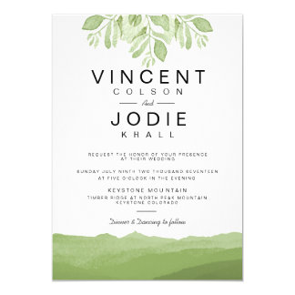 Green Leaf Mountain  | Watercolor Wedding Invite