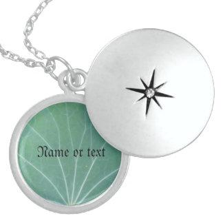 Green Leaf Round Locket Necklace