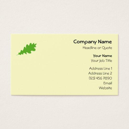 Green Leaf, Oak Tree leaf Design. Business Card
