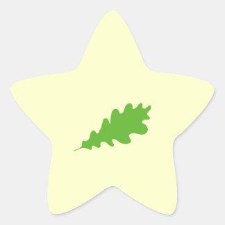 Green Leaf, Oak Tree leaf Design. Star Sticker