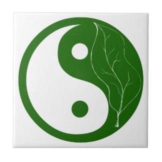 Green Leaf of Nature Yin Yang Tile