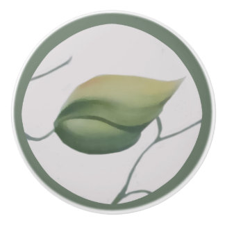 Green Leaf on Cream Background Ceramic Knob