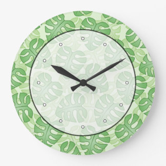 Green Leaf Pattern. Large Clock