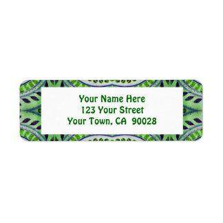 green leaf pattern return address label