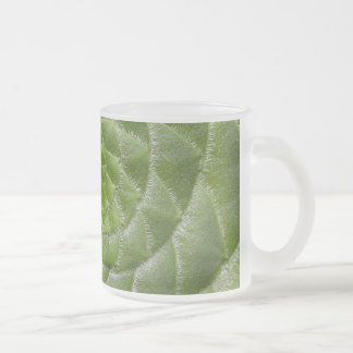 green leaf pattern spiral design frosted glass coffee mug