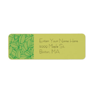 Green leaf return address label
