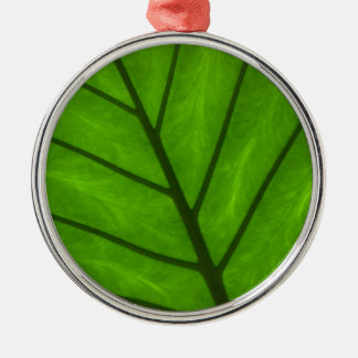 Green Leaf Silver-Colored Round Decoration
