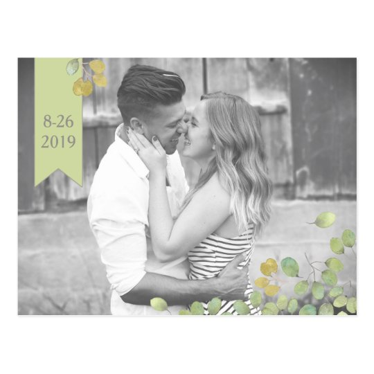 Green Leaf Simplicity Save The Date Postcard