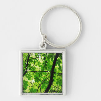 Green Leaf Sky Silver-Colored Square Key Ring