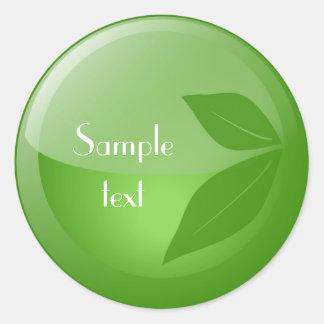 Green Leaf Sticker Round Sticker
