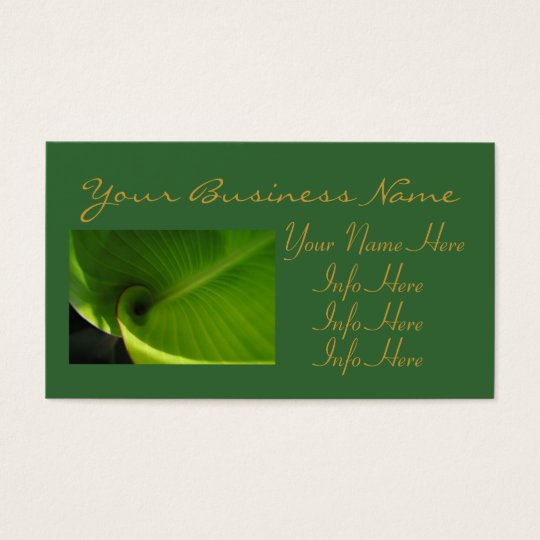 Green Leaf Swirl Business Card