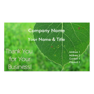 Green Leaf Thank You Business Card
