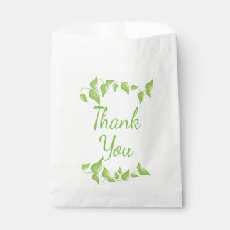 Green Leaf Thank You Wedding Leaves Favour Bags