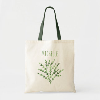Green Leaf with Name Tote Bag