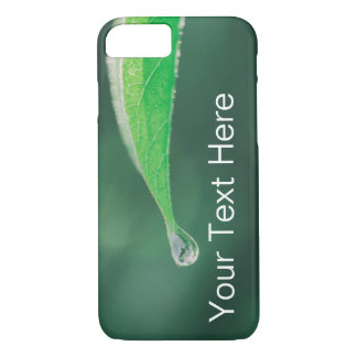Green Leaf with Raindrop PhoneCase -- Customizable iPhone 8/7 Case
