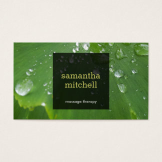 Green Leaf with Raindrops Massage Business Card
