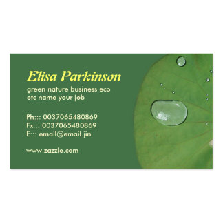 green leaf with water drop macro business card