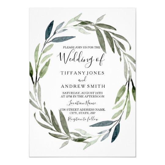 Green Leaf Wreath Modern Spring Wedding Invite