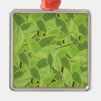Green Leafs Pattern Christmas Ornament