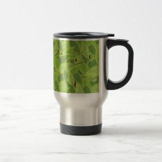 Green Leafs Pattern Stainless Steel Travel Mug