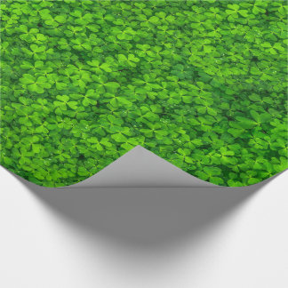 Green Leafy Clovers with Water Drops Wrapping Paper