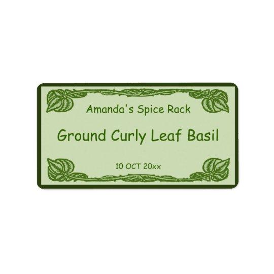 Green Leafy Vines Spice or Canning Jar Label