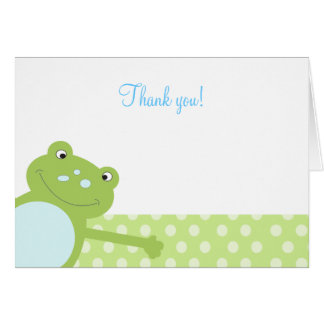 Green Leap Frog Folded Thank you note (Green) Note Card