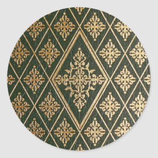 Green Leather Gold Embossed Pattern Classic Round Sticker