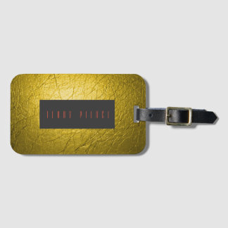 Green Leather Look Textured Luggage Tag