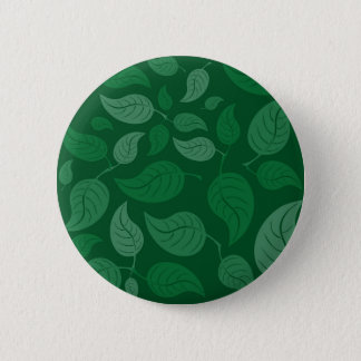 Green leaves 6 cm round badge
