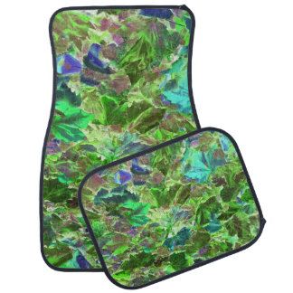 Green Leaves Abstract Pattern Floor Mat