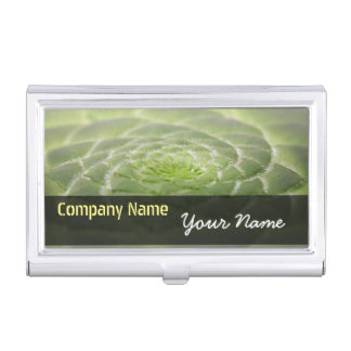 Green Leaves Aeonium Tabuliforme Business Card Business Card Holder