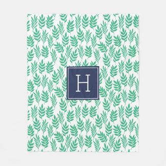 Green Leaves and Blue Monogram Fleece Blanket