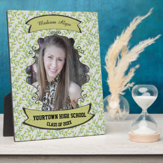 Green Leaves and Branches Photo Graduation Plaque